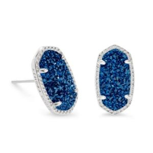 Kendra Scott silver and navy Ellie studs